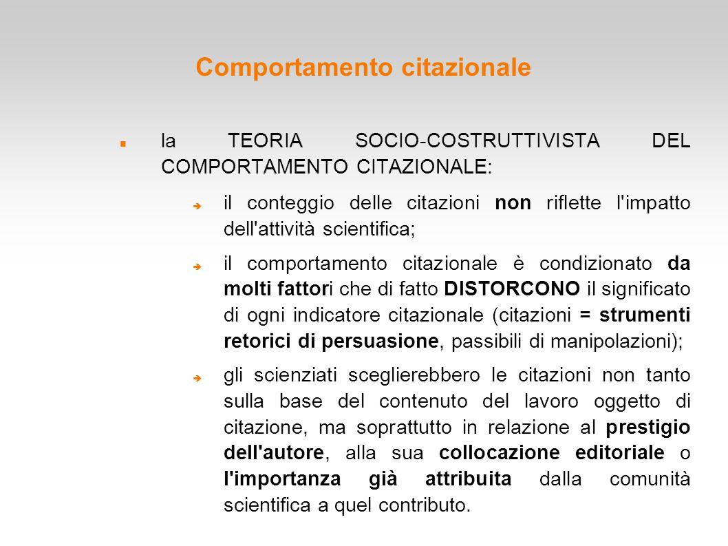Comportamento citazionale la TEORIA SOCIO-COSTRUTTIVISTA DEL COMPORTAMENTO CITAZIONALE:  il conteggio delle citazioni non riflette l'impatto dell'att
