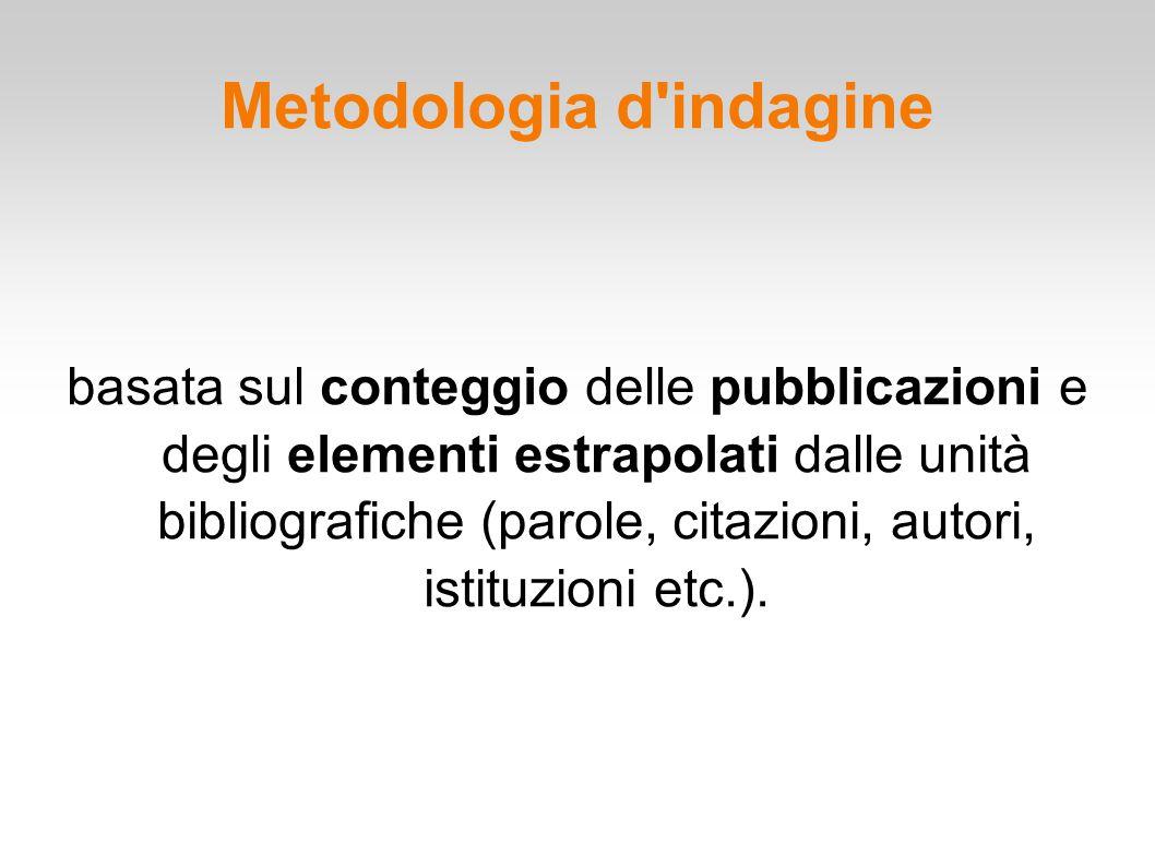 Metodologia d'indagine basata sul conteggio delle pubblicazioni e degli elementi estrapolati dalle unità bibliografiche (parole, citazioni, autori, is