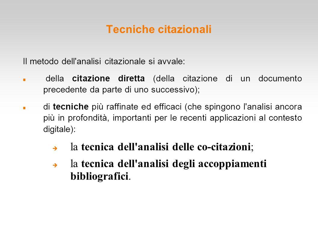 Tecniche citazionali Il metodo dell'analisi citazionale si avvale: della citazione diretta (della citazione di un documento precedente da parte di uno