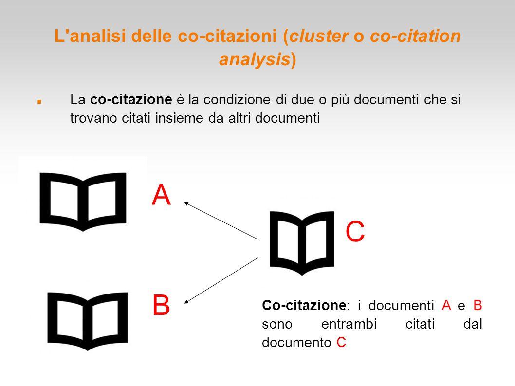 L'analisi delle co-citazioni (cluster o co-citation analysis) La co-citazione è la condizione di due o più documenti che si trovano citati insieme da