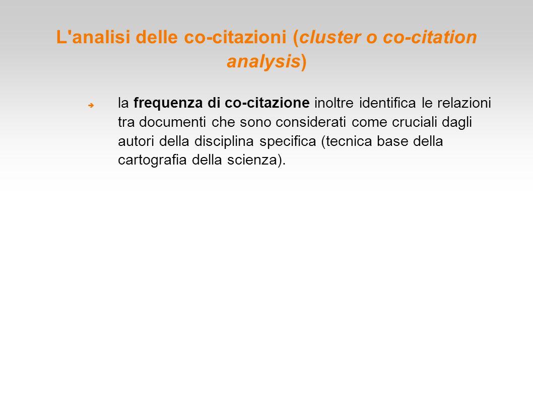 L'analisi delle co-citazioni (cluster o co-citation analysis)  la frequenza di co-citazione inoltre identifica le relazioni tra documenti che sono co