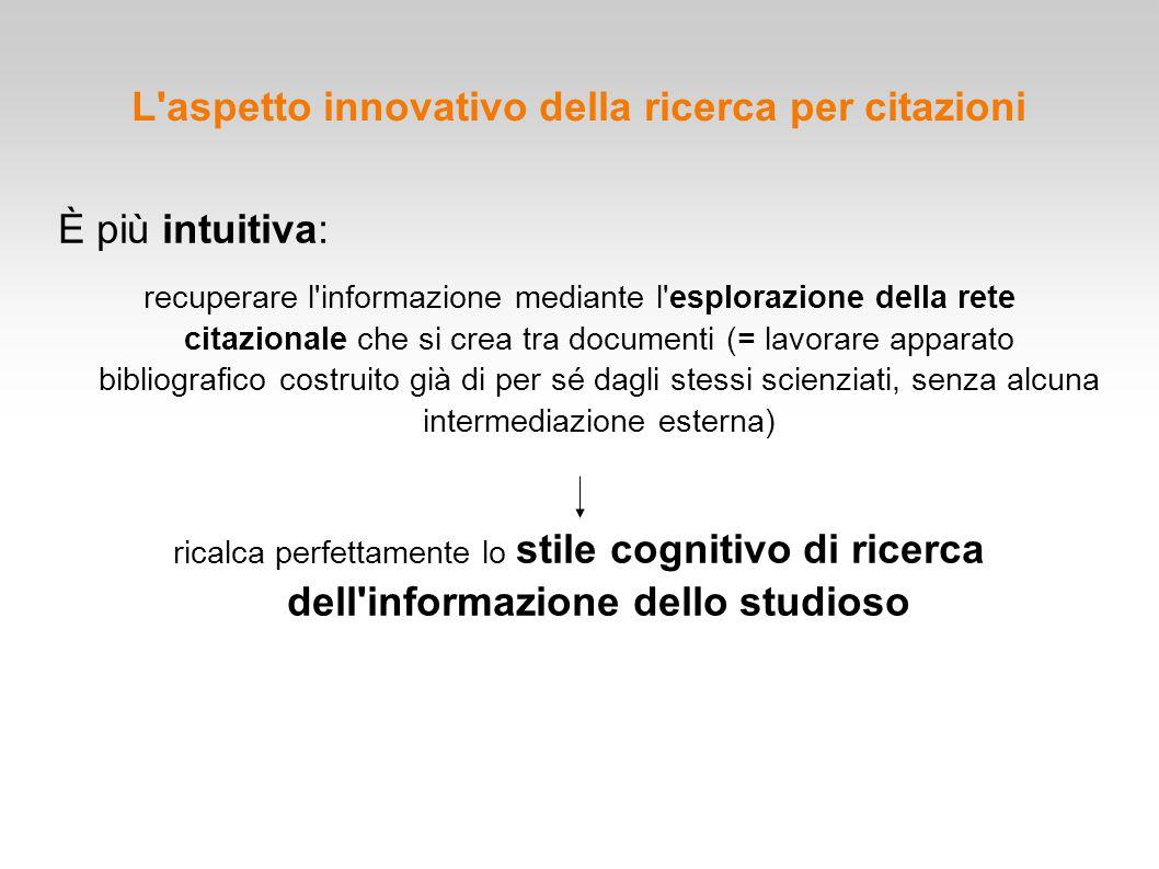 L'aspetto innovativo della ricerca per citazioni È più intuitiva: recuperare l'informazione mediante l'esplorazione della rete citazionale che si crea