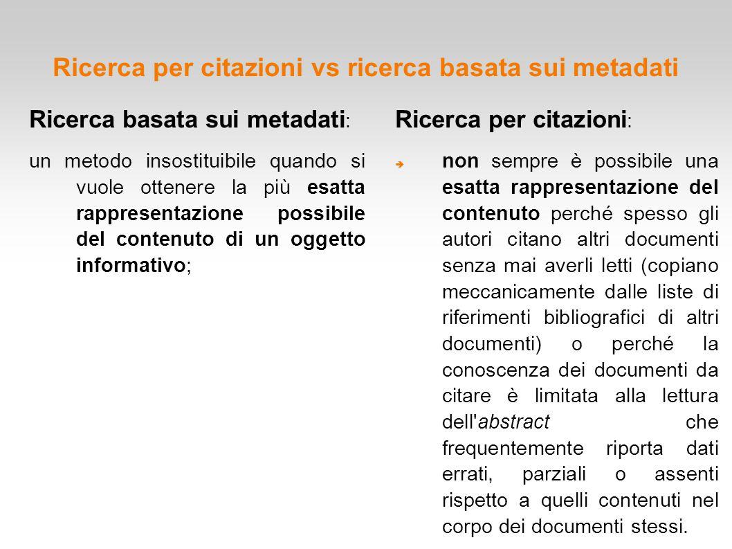 Ricerca per citazioni vs ricerca basata sui metadati Ricerca per citazioni :  non sempre è possibile una esatta rappresentazione del contenuto perché