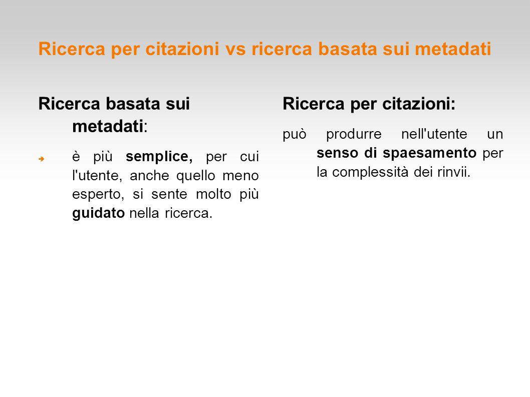 Ricerca per citazioni vs ricerca basata sui metadati Ricerca basata sui metadati:  è più semplice, per cui l'utente, anche quello meno esperto, si se