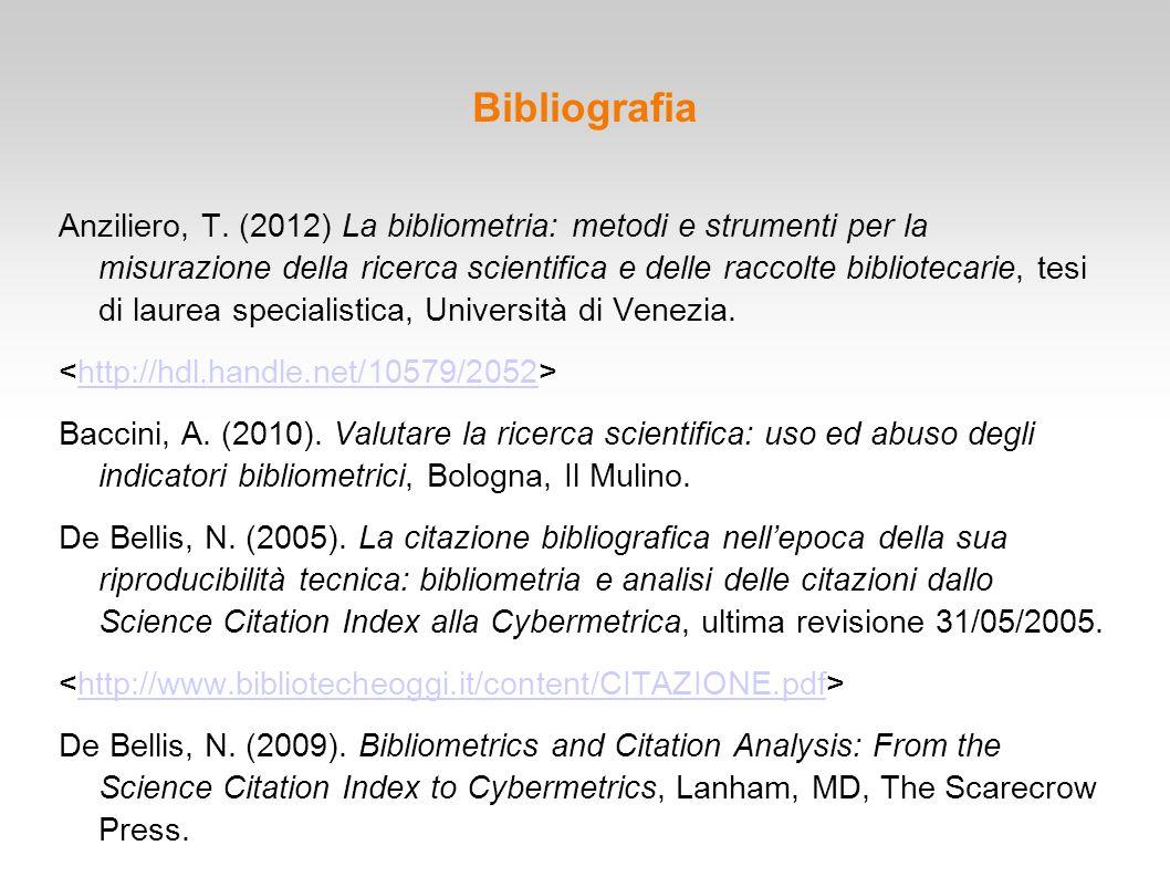 Bibliografia Anziliero, T. (2012) La bibliometria: metodi e strumenti per la misurazione della ricerca scientifica e delle raccolte bibliotecarie, tes