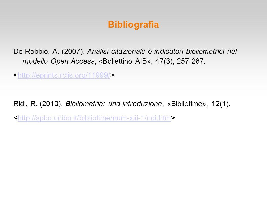 Bibliografia De Robbio, A. (2007). Analisi citazionale e indicatori bibliometrici nel modello Open Access, «Bollettino AIB», 47(3), 257-287. http://ep