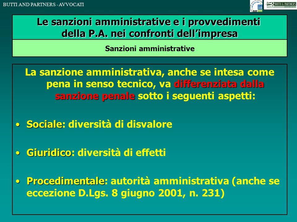 BUTTI AND PARTNERS - AVVOCATI differenziata dalla sanzione penale La sanzione amministrativa, anche se intesa come pena in senso tecnico, va differenz