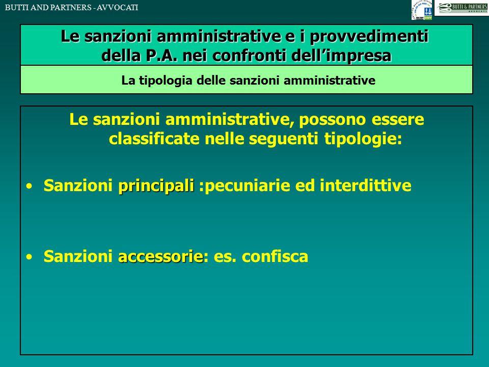 BUTTI AND PARTNERS - AVVOCATI Le sanzioni amministrative, possono essere classificate nelle seguenti tipologie: principaliSanzioni principali :pecunia