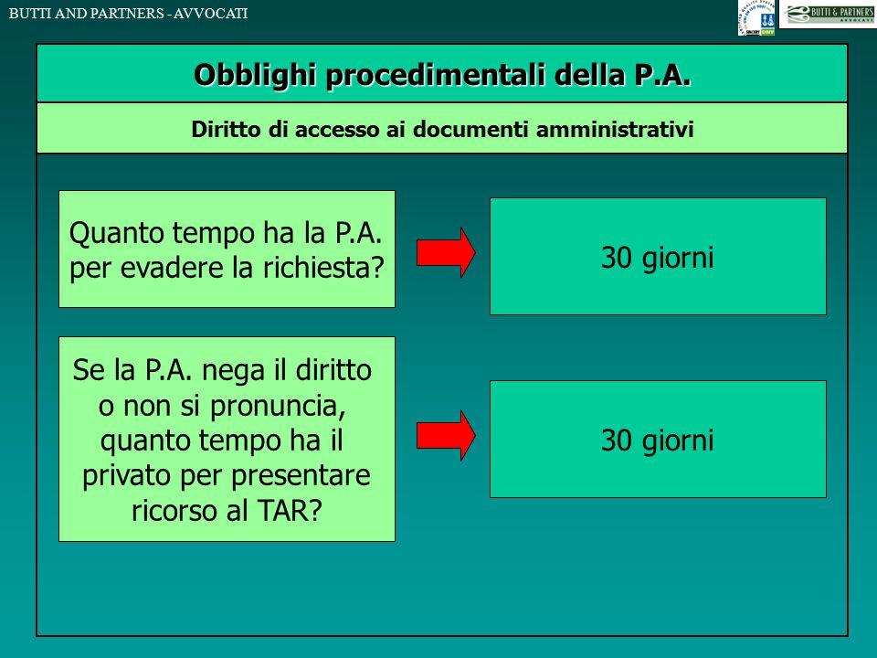 BUTTI AND PARTNERS - AVVOCATI Obblighi procedimentali della P.A. Diritto di accesso ai documenti amministrativi Quanto tempo ha la P.A. per evadere la