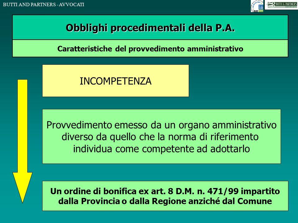BUTTI AND PARTNERS - AVVOCATI Obblighi procedimentali della P.A. Caratteristiche del provvedimento amministrativo INCOMPETENZA Provvedimento emesso da