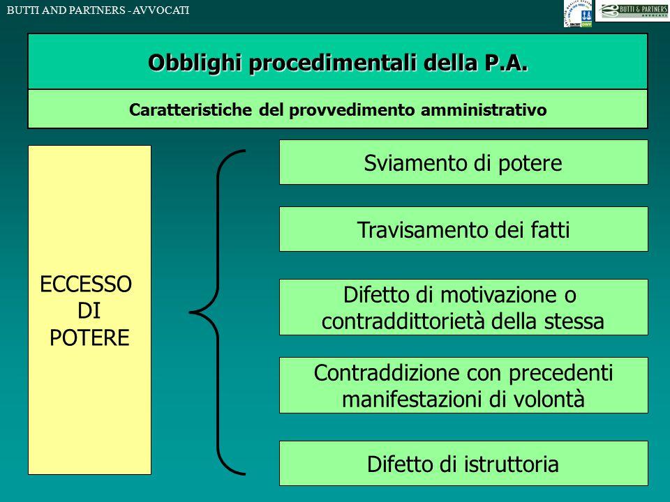 BUTTI AND PARTNERS - AVVOCATI Obblighi procedimentali della P.A. Caratteristiche del provvedimento amministrativo ECCESSO DI POTERE Sviamento di poter