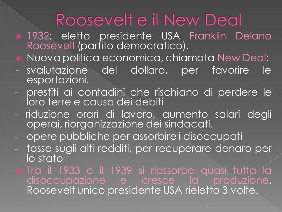  1932: eletto presidente USA Franklin Delano Roosevelt (partito democratico).  Nuova politica economica, chiamata New Deal: -svalutazione del dollar