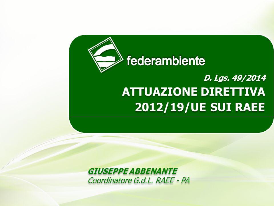 RECEPIMENTO DIRETTIVA EUROPEA SUI RAEE Giuseppe Abbenante – Coordinatore G.d.L.
