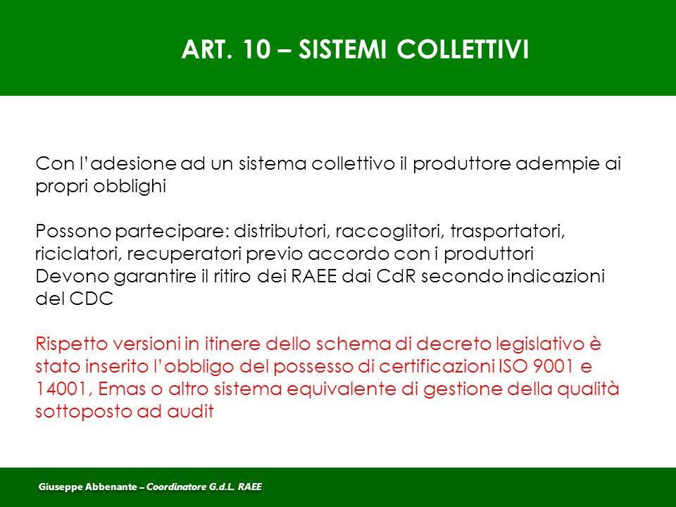 ART. 10 – SISTEMI COLLETTIVI Con l'adesione ad un sistema collettivo il produttore adempie ai propri obblighi Possono partecipare: distributori, racco