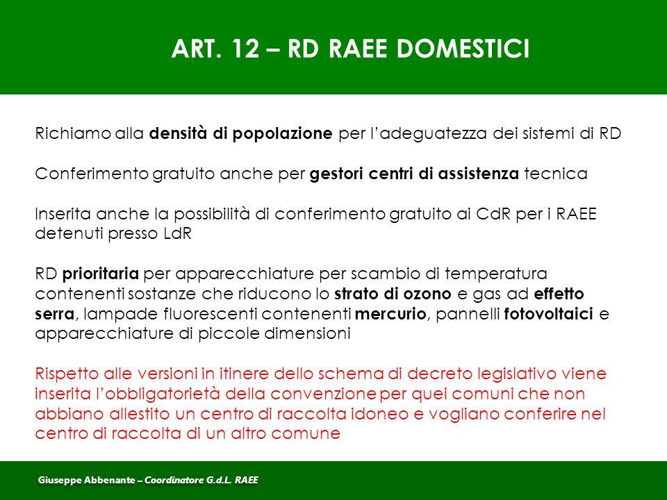 ART. 12 – RD RAEE DOMESTICI Richiamo alla densità di popolazione per l'adeguatezza dei sistemi di RD Conferimento gratuito anche per gestori centri di