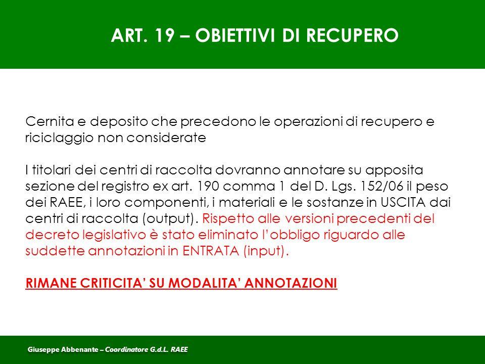 ART. 19 – OBIETTIVI DI RECUPERO Cernita e deposito che precedono le operazioni di recupero e riciclaggio non considerate I titolari dei centri di racc