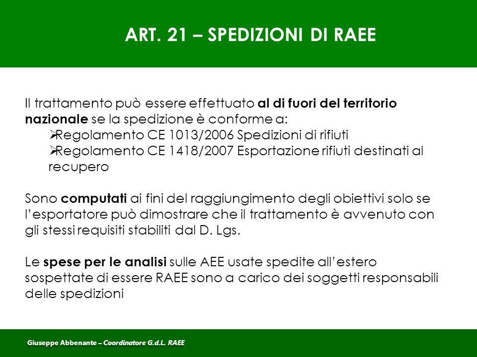 ART. 21 – SPEDIZIONI DI RAEE Il trattamento può essere effettuato al di fuori del territorio nazionale se la spedizione è conforme a:  Regolamento CE