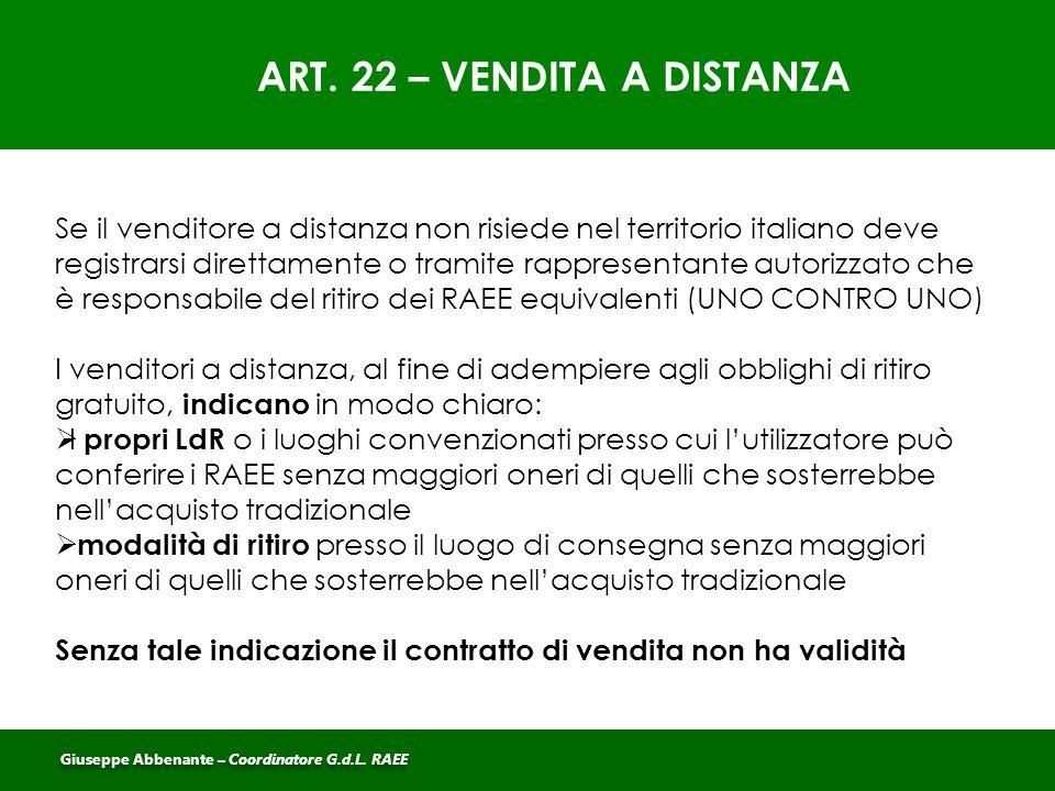 ART. 22 – VENDITA A DISTANZA Se il venditore a distanza non risiede nel territorio italiano deve registrarsi direttamente o tramite rappresentante aut
