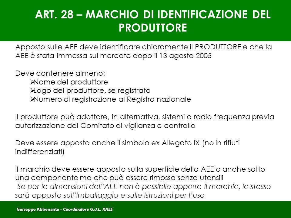 ART. 28 – MARCHIO DI IDENTIFICAZIONE DEL PRODUTTORE Apposto sulle AEE deve identificare chiaramente il PRODUTTORE e che la AEE è stata immessa sul mer