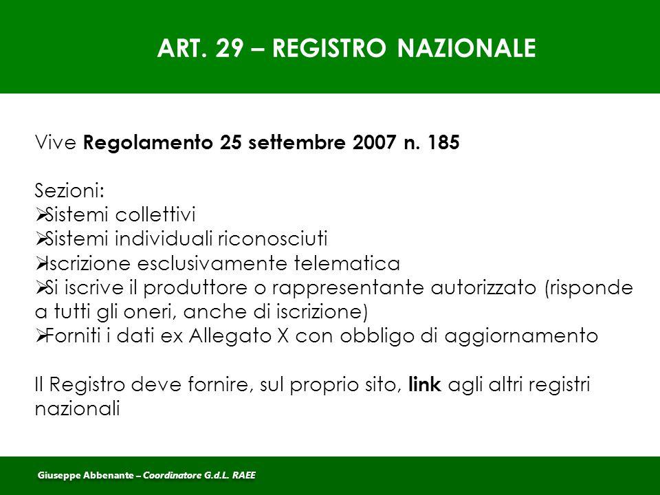 ART. 29 – REGISTRO NAZIONALE Vive Regolamento 25 settembre 2007 n. 185 Sezioni:  Sistemi collettivi  Sistemi individuali riconosciuti  Iscrizione e