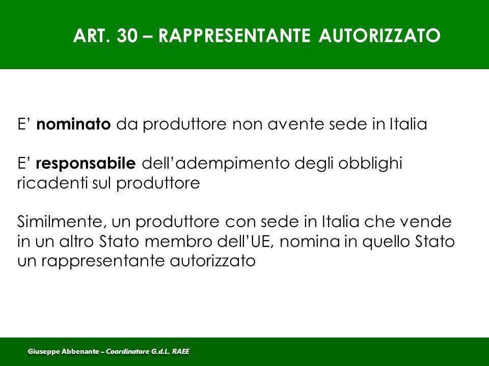 ART. 30 – RAPPRESENTANTE AUTORIZZATO E' nominato da produttore non avente sede in Italia E' responsabile dell'adempimento degli obblighi ricadenti sul