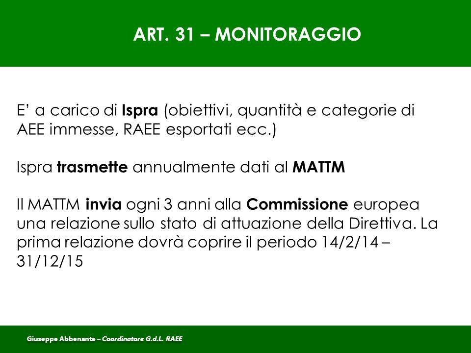 ART. 31 – MONITORAGGIO E' a carico di Ispra (obiettivi, quantità e categorie di AEE immesse, RAEE esportati ecc.) Ispra trasmette annualmente dati al