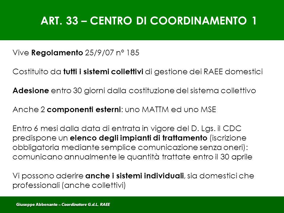ART. 33 – CENTRO DI COORDINAMENTO 1 Vive Regolamento 25/9/07 n° 185 Costituito da tutti i sistemi collettivi di gestione dei RAEE domestici Adesione e