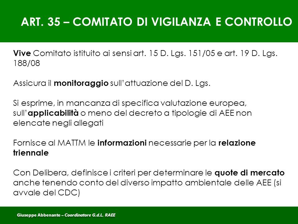 ART. 35 – COMITATO DI VIGILANZA E CONTROLLO Vive Comitato istituito ai sensi art. 15 D. Lgs. 151/05 e art. 19 D. Lgs. 188/08 Assicura il monitoraggio
