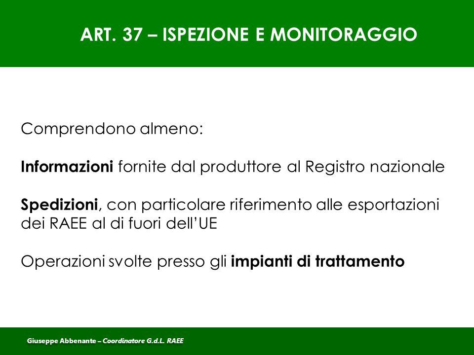 ART. 37 – ISPEZIONE E MONITORAGGIO Comprendono almeno: Informazioni fornite dal produttore al Registro nazionale Spedizioni, con particolare riferimen