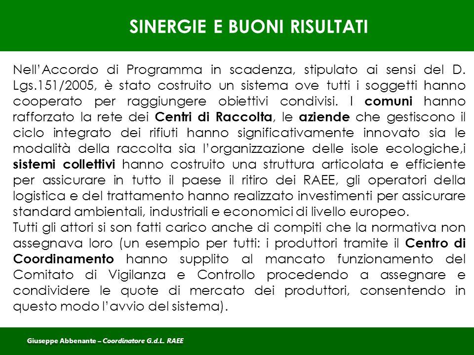 SINERGIE E BUONI RISULTATI Giuseppe Abbenante – Coordinatore G.d.L. RAEE Nell'Accordo di Programma in scadenza, stipulato ai sensi del D. Lgs.151/2005