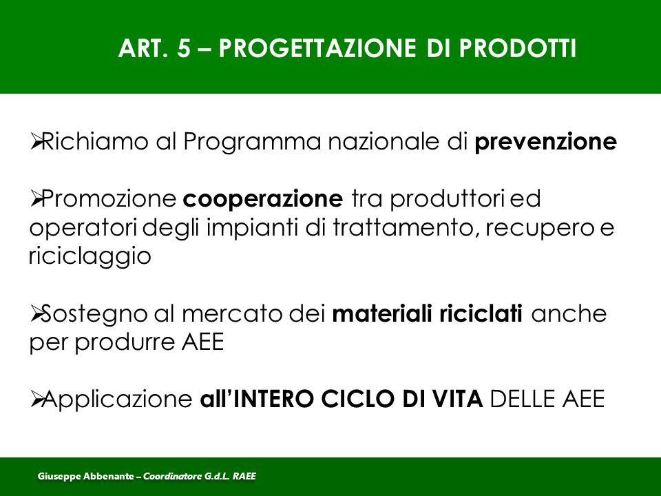 ART. 5 – PROGETTAZIONE DI PRODOTTI  Richiamo al Programma nazionale di prevenzione  Promozione cooperazione tra produttori ed operatori degli impian