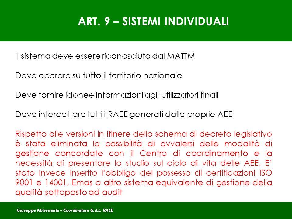 ART. 9 – SISTEMI INDIVIDUALI Il sistema deve essere riconosciuto dal MATTM Deve operare su tutto il territorio nazionale Deve fornire idonee informazi