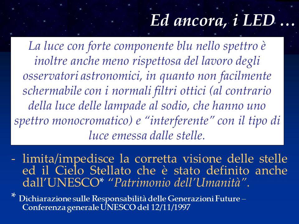 """-limita/impedisce la corretta visione delle stelle ed il Cielo Stellato che è stato definito anche dall'UNESCO* """"Patrimonio dell'Umanità"""". * Dichiaraz"""