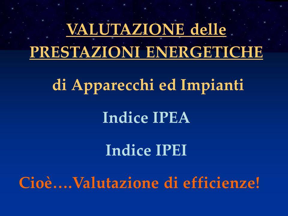 VALUTAZIONE delle PRESTAZIONI ENERGETICHE di Apparecchi ed Impianti Indice IPEA Indice IPEI Cioè….Valutazione di efficienze!