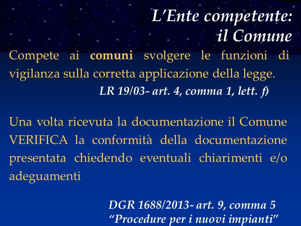 L'Ente competente: il Comune Compete ai comuni svolgere le funzioni di vigilanza sulla corretta applicazione della legge. LR 19/03- art. 4, comma 1, l