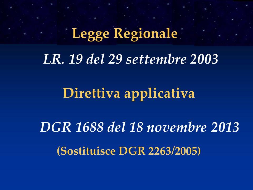 Direttiva applicativa DGR 1688 del 18 novembre 2013 Legge Regionale LR. 19 del 29 settembre 2003 (Sostituisce DGR 2263/2005)