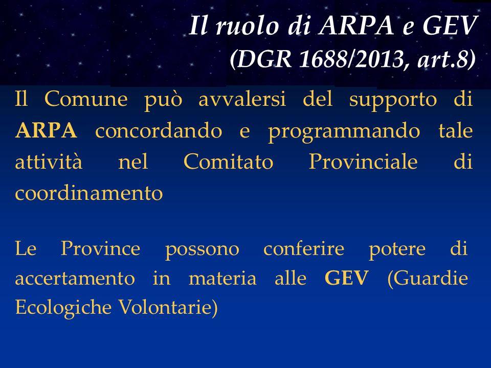 Il ruolo di ARPA e GEV (DGR 1688/2013, art.8) Il Comune può avvalersi del supporto di ARPA concordando e programmando tale attività nel Comitato Provinciale di coordinamento Le Province possono conferire potere di accertamento in materia alle GEV (Guardie Ecologiche Volontarie)