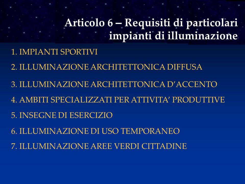 Articolo 6 – Requisiti di particolari impianti di illuminazione 1. IMPIANTI SPORTIVI 2. ILLUMINAZIONE ARCHITETTONICA DIFFUSA 3. ILLUMINAZIONE ARCHITET