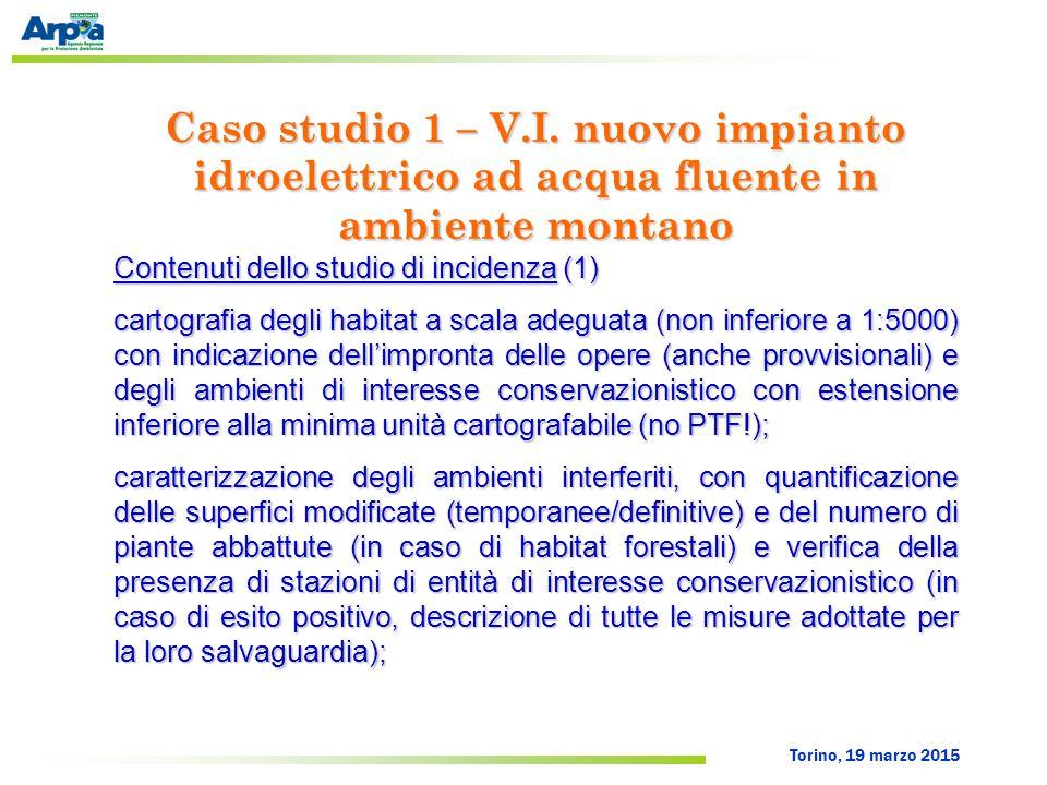 Torino, 19 marzo 2015 Contenuti dello studio di incidenza (1) cartografia degli habitat a scala adeguata (non inferiore a 1:5000) con indicazione dell