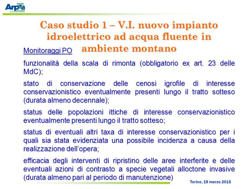 Torino, 19 marzo 2015 Monitoraggi PO funzionalità della scala di rimonta (obbligatorio ex art. 23 delle MdC); stato di conservazione delle cenosi igro