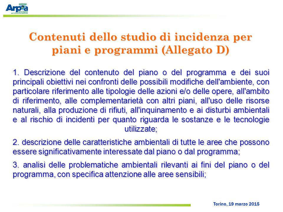 Torino, 19 marzo 2015 Contenuti dello studio di incidenza per piani e programmi (Allegato D) 1. Descrizione del contenuto del piano o del programma e