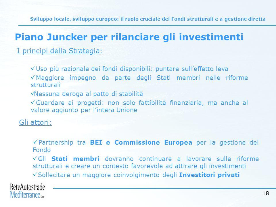 18 Sviluppo locale, sviluppo europeo: il ruolo cruciale dei Fondi strutturali e a gestione diretta Piano Juncker per rilanciare gli investimenti I principi della Strategia : Uso più razionale dei fondi disponibili: puntare sull'effetto leva Maggiore impegno da parte degli Stati membri nelle riforme strutturali Nessuna deroga al patto di stabilità Guardare ai progetti: non solo fattibilità finanziaria, ma anche al valore aggiunto per l'intera Unione Gli attori: Partnership tra BEI e Commissione Europea per la gestione del Fondo Gli Stati membri dovranno continuare a lavorare sulle riforme strutturali e creare un contesto favorevole ad attirare gli investimenti Sollecitare un maggiore coinvolgimento degli Investitori privati