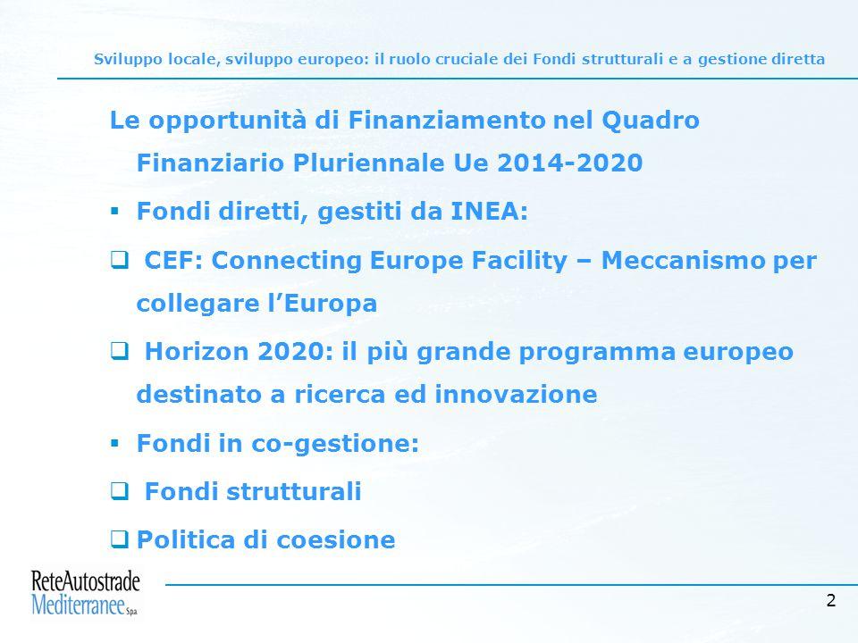 2 Le opportunità di Finanziamento nel Quadro Finanziario Pluriennale Ue 2014-2020  Fondi diretti, gestiti da INEA:  CEF: Connecting Europe Facility – Meccanismo per collegare l'Europa  Horizon 2020: il più grande programma europeo destinato a ricerca ed innovazione  Fondi in co-gestione:  Fondi strutturali  Politica di coesione