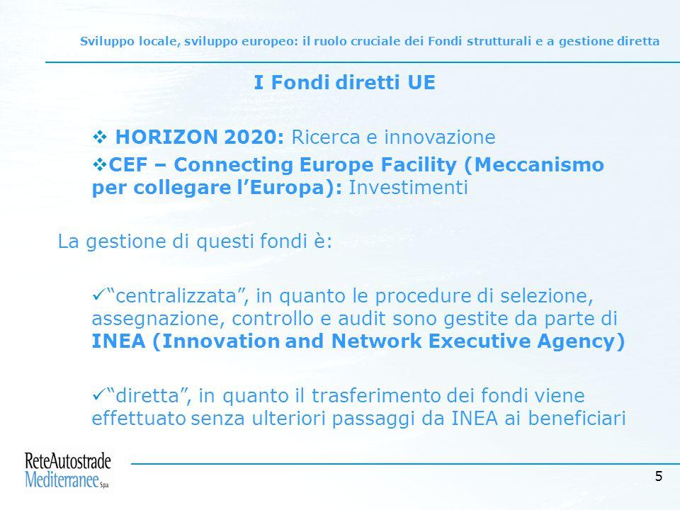5 I Fondi diretti UE  HORIZON 2020: Ricerca e innovazione  CEF – Connecting Europe Facility (Meccanismo per collegare l'Europa): Investimenti La gestione di questi fondi è: centralizzata , in quanto le procedure di selezione, assegnazione, controllo e audit sono gestite da parte di INEA (Innovation and Network Executive Agency) diretta , in quanto il trasferimento dei fondi viene effettuato senza ulteriori passaggi da INEA ai beneficiari