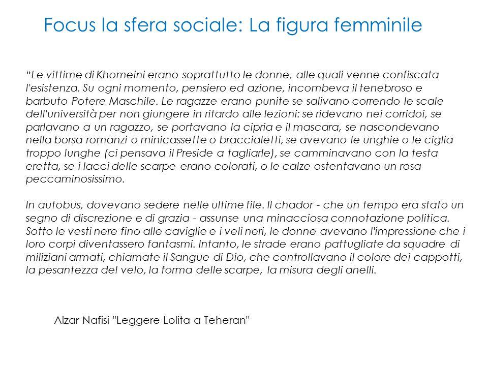 Focus la sfera sociale: La figura femminile Le vittime di Khomeini erano soprattutto le donne, alle quali venne confiscata l esistenza.