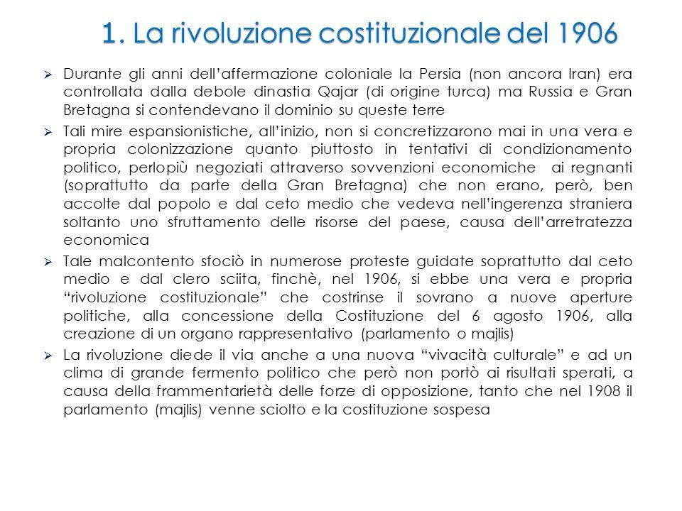 1. La rivoluzione costituzionale del 1906  Durante gli anni dell'affermazione coloniale la Persia (non ancora Iran) era controllata dalla debole dina
