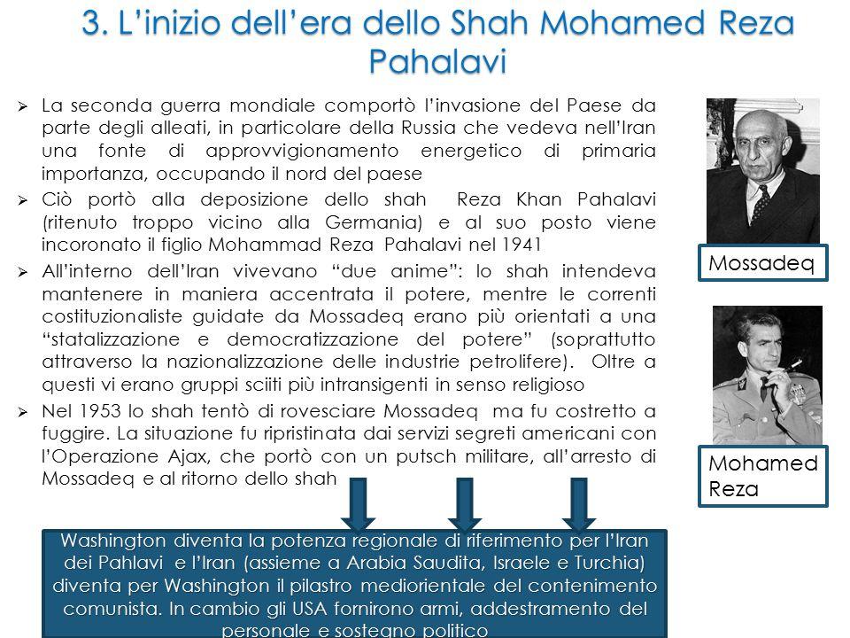 3. L'inizio dell'era dello Shah Mohamed Reza Pahalavi  La seconda guerra mondiale comportò l'invasione del Paese da parte degli alleati, in particola