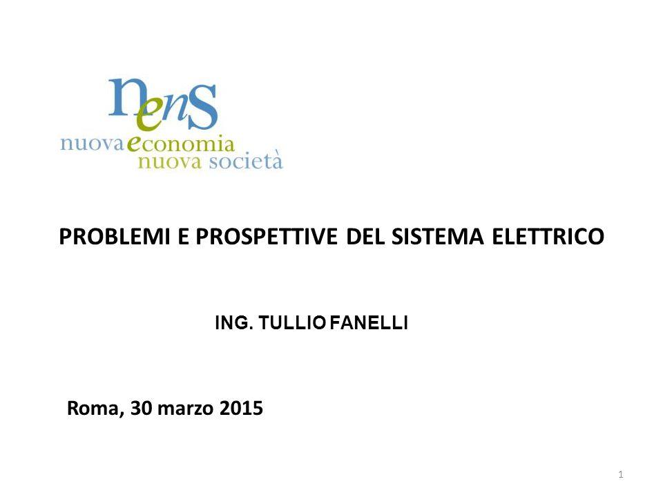 PROBLEMI E PROSPETTIVE DEL SISTEMA ELETTRICO ING. TULLIO FANELLI Roma, 30 marzo 2015 1