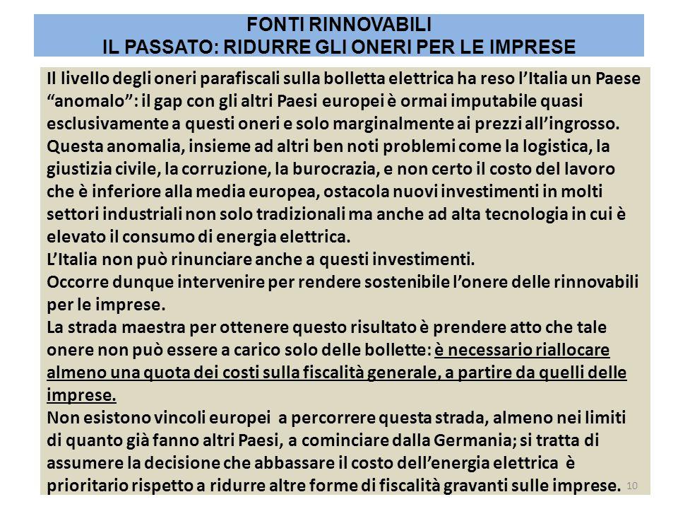 """Il livello degli oneri parafiscali sulla bolletta elettrica ha reso l'Italia un Paese """"anomalo"""": il gap con gli altri Paesi europei è ormai imputabile"""