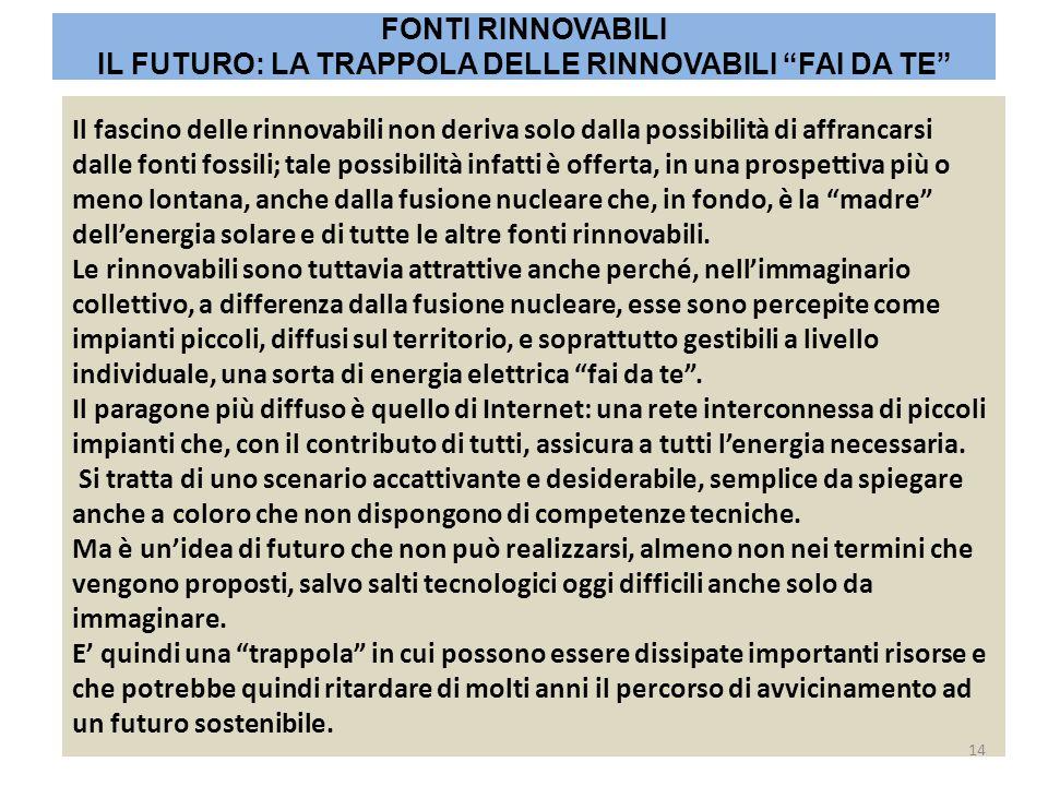 Il fascino delle rinnovabili non deriva solo dalla possibilità di affrancarsi dalle fonti fossili; tale possibilità infatti è offerta, in una prospett